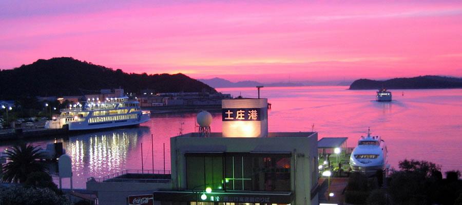 土庄港の夕景